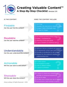 نموذج جيد جداً لقوائم التنفيذ. المصدر: https://contentmarketinginstitute.com/2019/06/creating-valuable-content-checklist/